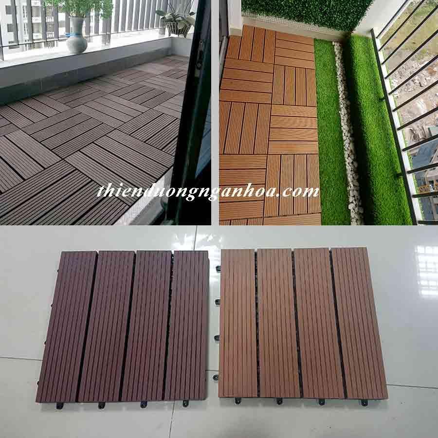 Thiết kế sàn gỗ composite đẹp như gỗ tự nhiên, vỉ gỗ nhựa cho ban công lắp đặt tại nhà.